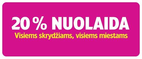 Wizzair skrydžiams skelbiama 20 proc. nuolaida