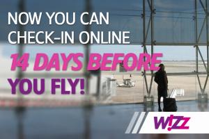 Wizzair check-in internetu 14 dienų prieš skrydį!