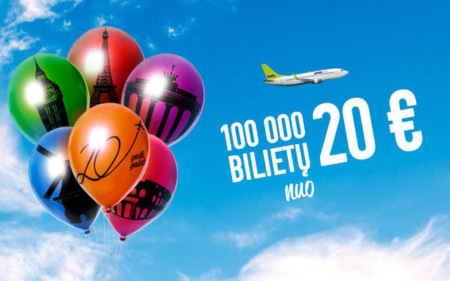 airBaltic 20-ojo gimtadienio skrydžių išpardavimas